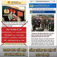 Cảnh báo trang web giả mạo Cổng Thông tin điện tử của Công an TP Hà Nội